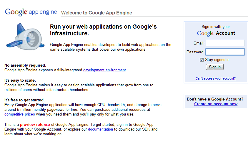 Create account at Google App Engine