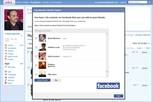 connect facebook with orkut friends