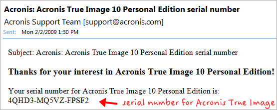 free acronis serial number via email