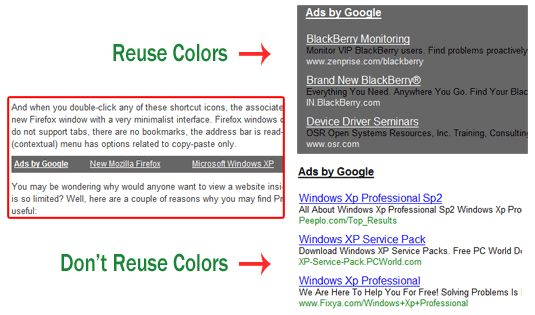 colors for google adlinks