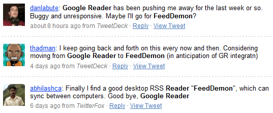feeddemon and google reader