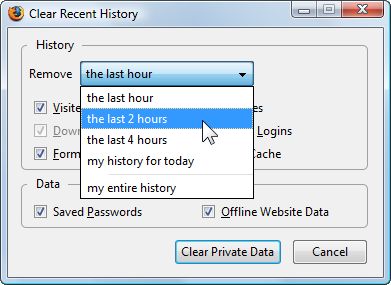 clear recent history in Firefox