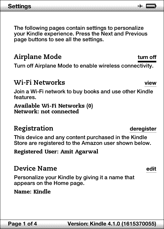 Turn On the Airplane Mode in Amazon Kindle