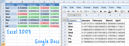 xlsx support in google docs