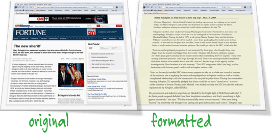 format web pages for printing