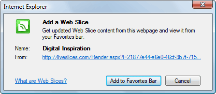 Turn your RSS Feed into a Web Slice for Internet Explorer 8