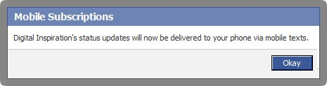 sms updates from facebook
