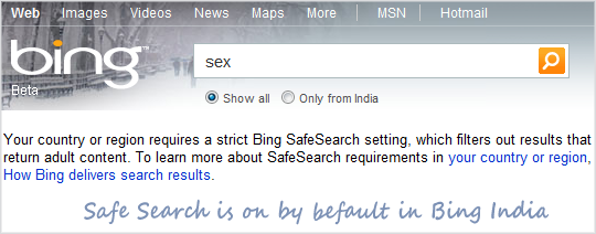 Bing Safe Search