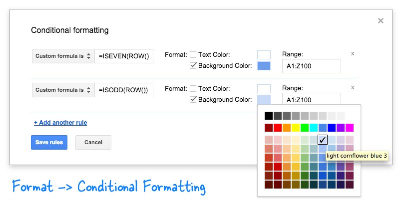 Google Formulas with Conditional Formatting