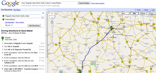 Driving Direction Maps Find Detailed Driving Directions for Indian Cities from Google
