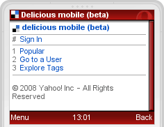 delicious on mobile phone