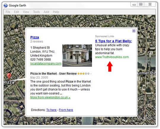Pop-Up Ads in Google Earth
