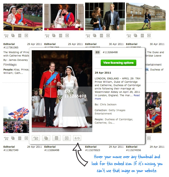 Getty Images - Embed on your Website