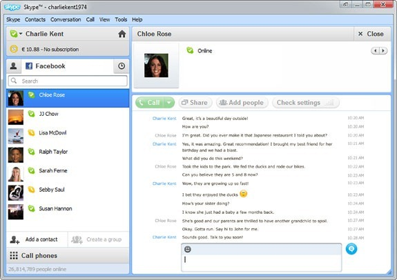 use skype as a facebook chat client. Black Bedroom Furniture Sets. Home Design Ideas