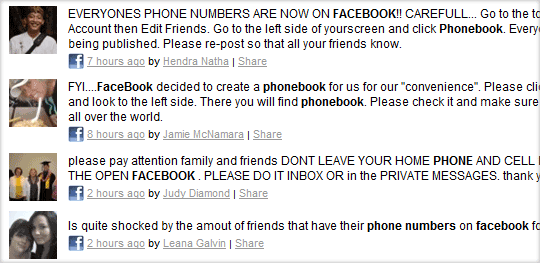 facebook phone numbers