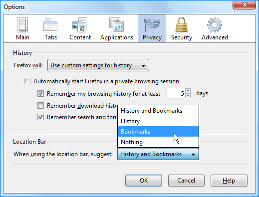 hide history in firefox