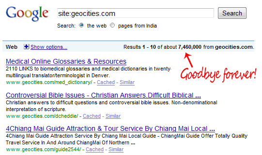 geocities pages on google