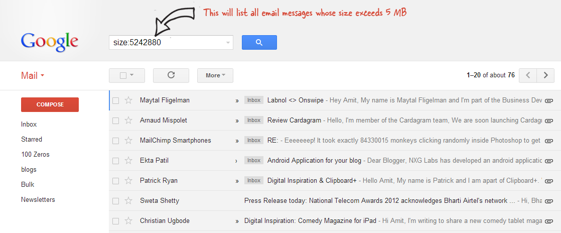 Gmail Search by Size