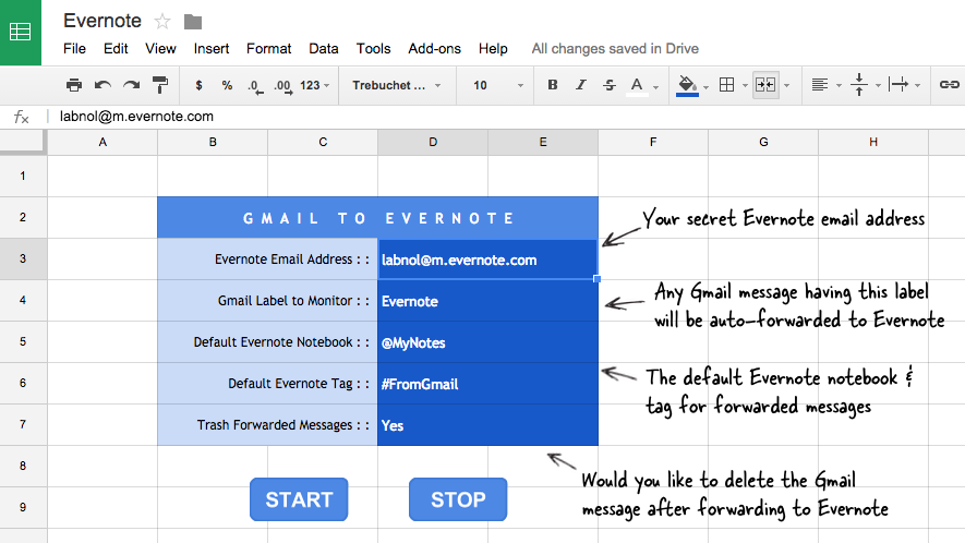 Gmail to Evernote
