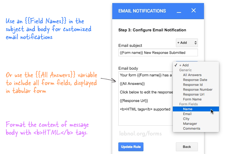 Get Google Forms Data in an Email Message