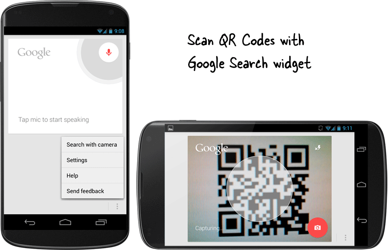 Scan QR Codes with the Google Search Widget on Android