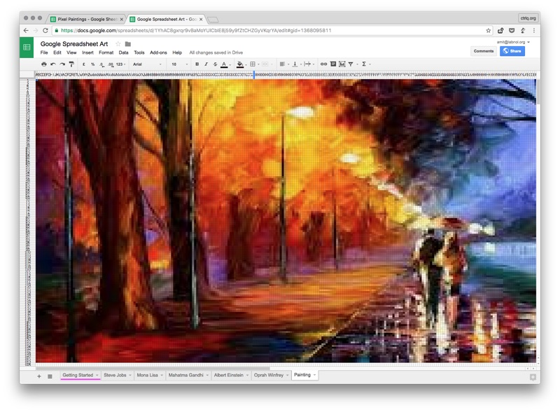 How to create pixel drawings with google spreadsheets for Creating a mural