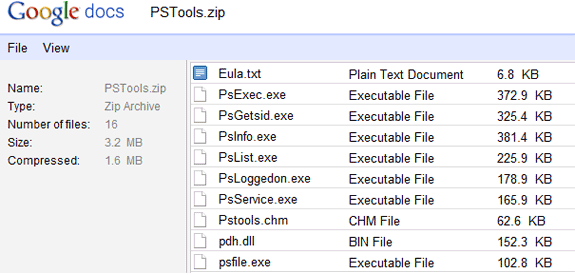 View Contents of a Zip File Online with Google Docs