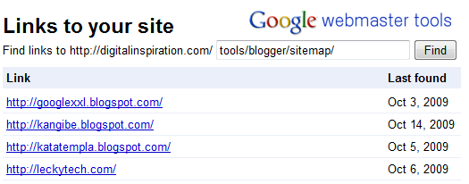 google webmaster links
