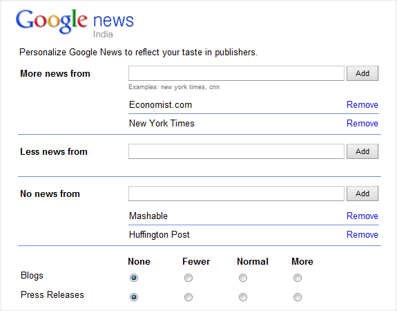 google news settings