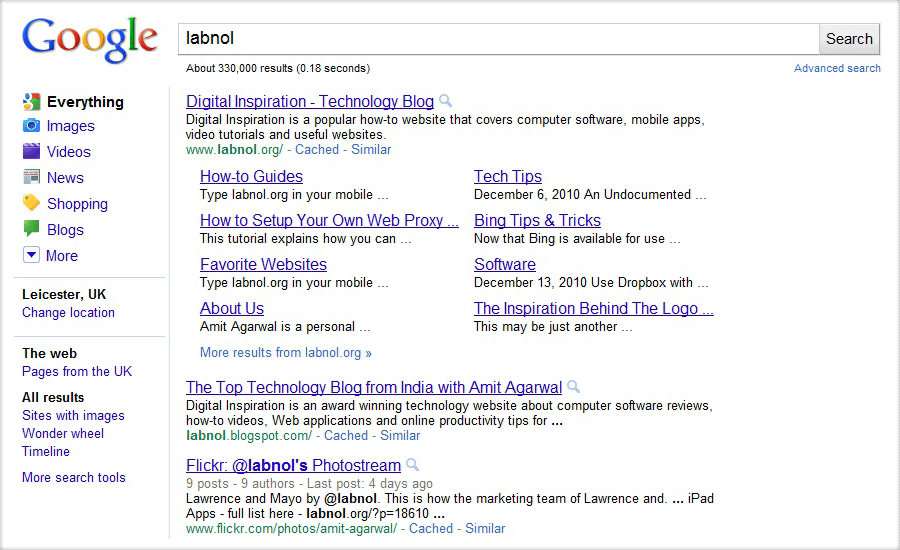 google sitelinks - screenshot