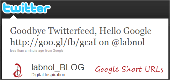 Google Short URLs on Twitter