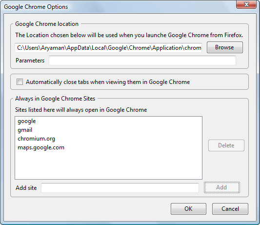 Open Websites in Google Chrome from Firefox