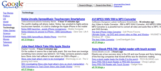 google blog search. top on Google Blog Search