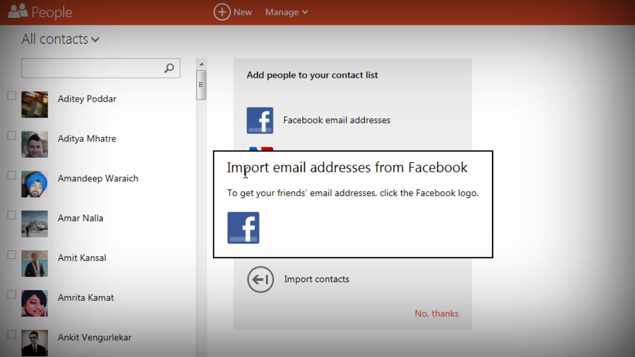 outlook imports email addresses from facebook no takeout