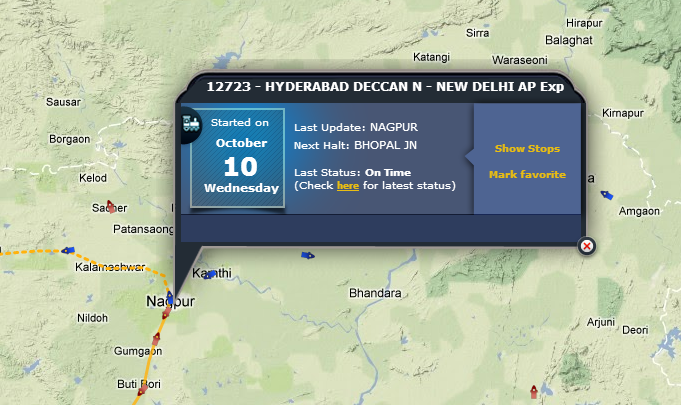 Find the Current Location of Indian Railways Trains on a Google Map