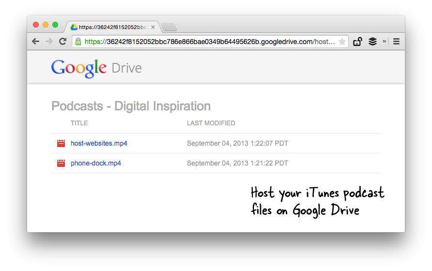 Google Drive for Podcast Hosting