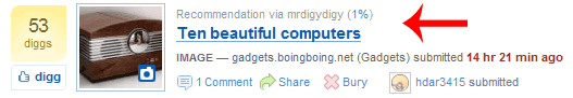 digg recommendation