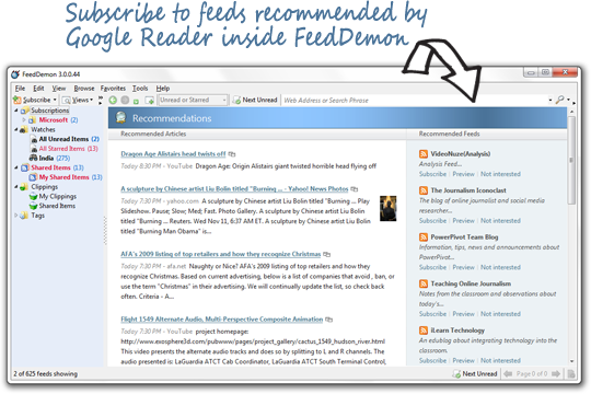 recommended feeds from google reader