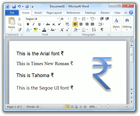 Write The Indian Rupee Symbol Using Windows Fonts