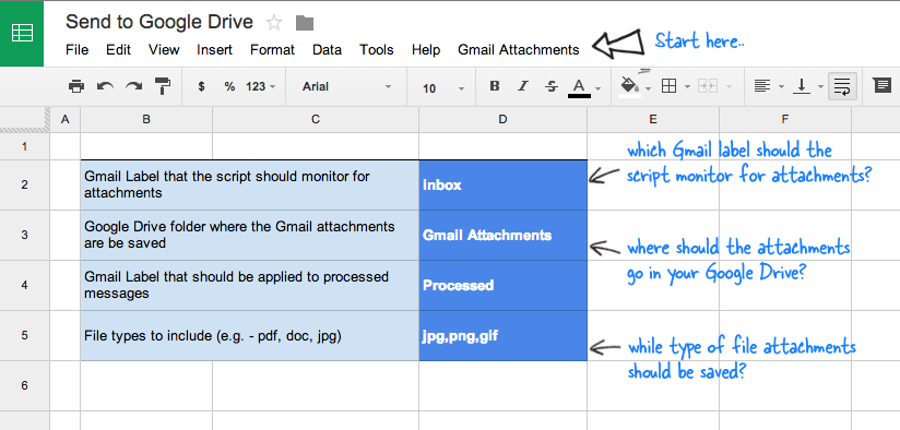 Save files attachments from Gmail to any Google Drive folder.