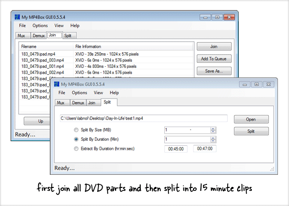 join and split DVD video