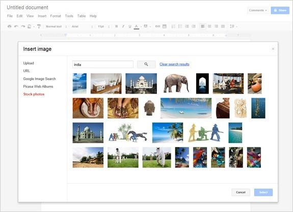 Stock photos in Google Docs
