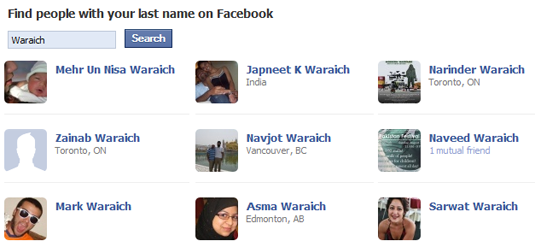 Facebook People Search by Surname