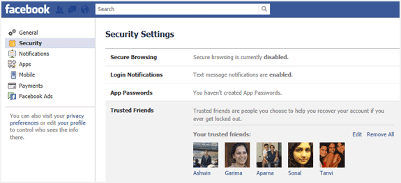 facebook trusted friends