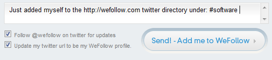 default tweet from wefollow