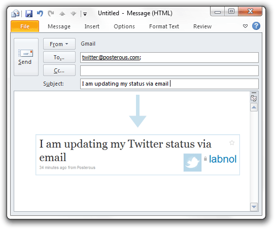Update twitter via email