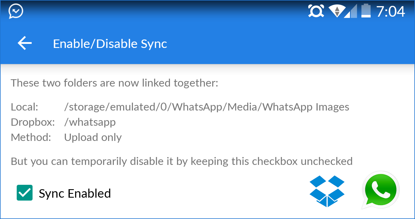 WhatsApp Dropbox Sync