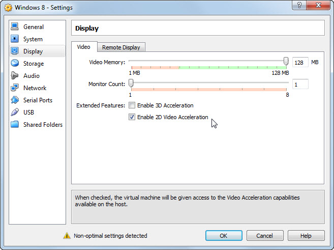 Windows 8 VM Settings