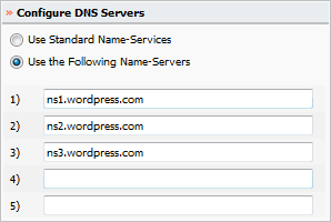 WordPress DNS Name Servers