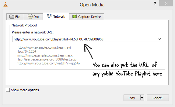 Play YouTube Playlists inside VLC